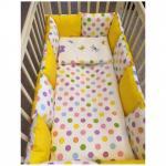 Комплекты для кроваток ByTwinz Яркий горох (6 предметов) с бортиками-подушками